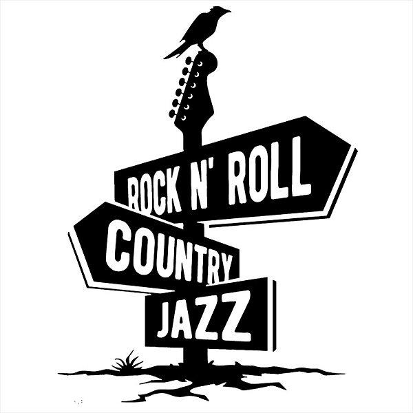 Adesivo - Placas Rock And Roll Country Jazz Música