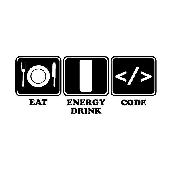 Adesivo - Eat Energy Drink Code Programação Profissões