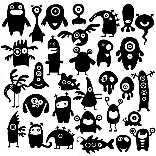 Adesivo - Cartela Halloween Monstros Monters Aliens