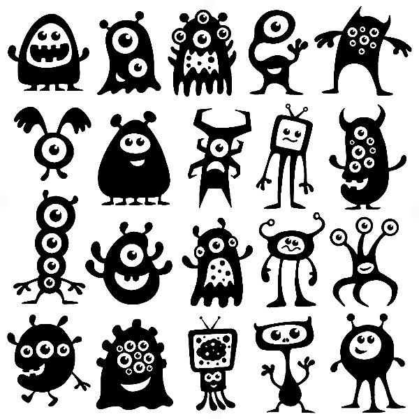 Adesivo - Cartela Halloween Monstros Monsters Aliens
