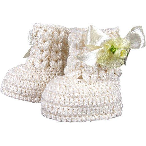 Botinha de Crochê para Bebê Recém-Nascido Modelo Lacinho (RN)