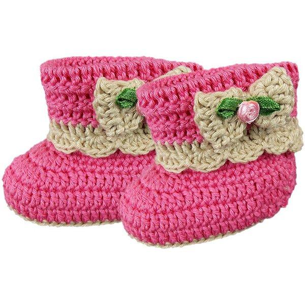 Botinha de Crochê para Bebê Modelo Princess (PP)