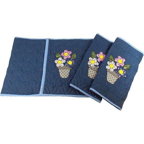 Jogo de Tapetes para Cozinha de Patch Aplique com 3 peças Modelo Vaso de Flores