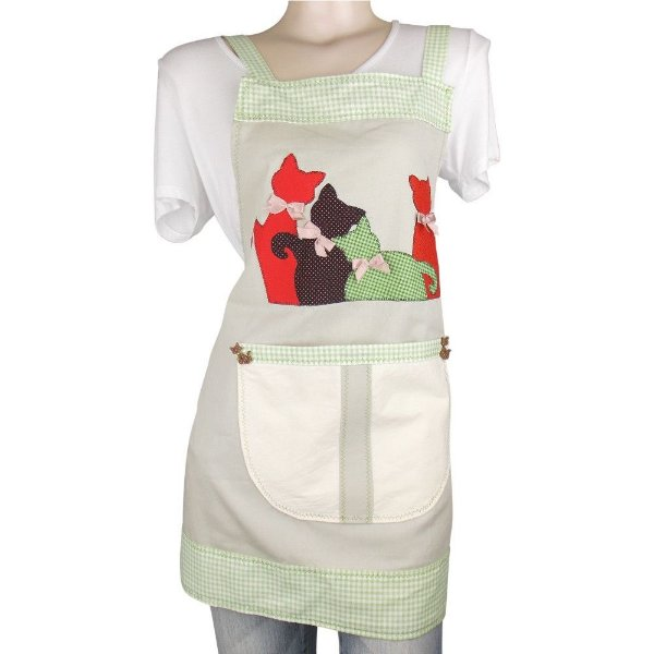 Avental Feminino de Patchwork com Patch Aplique de Gatos