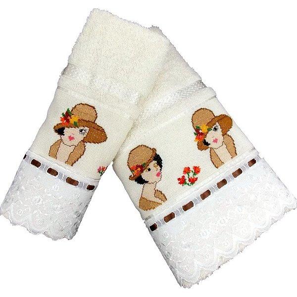 Jogo de Toalhas de Banho e Rosto Pérola de Bordado Ponto Cruz Ladies