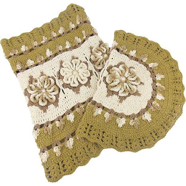 Jogo de Tapetes para Banheiro em Crochê Verde com Flores Bege Mesclado