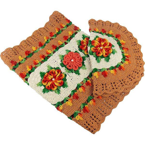 Jogo de tapetes para Banheiro em Crochê Caramelo com Flores Amarelo Mesclado