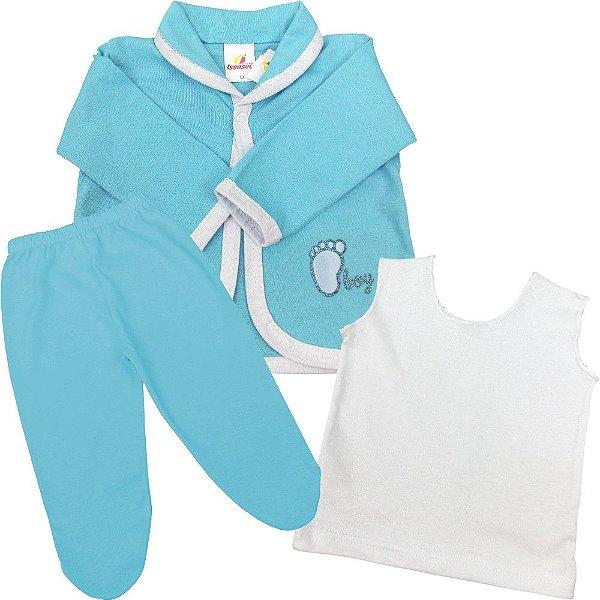 Conjunto Pagão Longo 3 Peças Meia Malha Casaco Regata e Calça para Recém-nascido