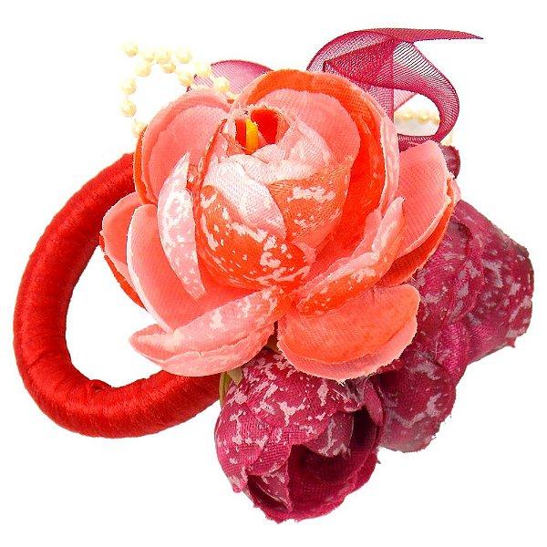 Porta Guardanapo de Argola com Flores Vermelha e Laranja 6 unidades