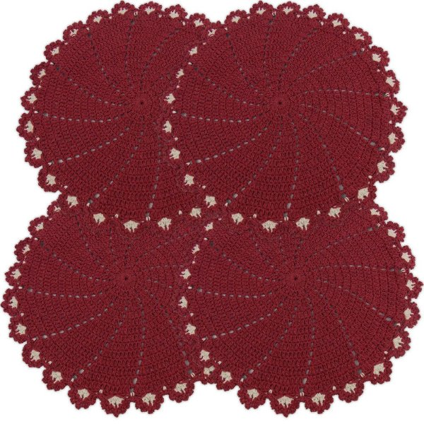 Sousplat Redondo de Crochê Jogo com 4 peças