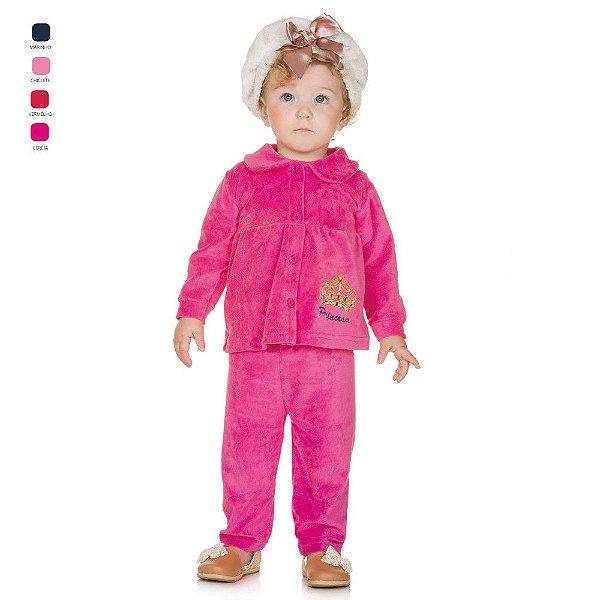 Conjunto Infantil Longo de Plush para Bebê com Gola Menina