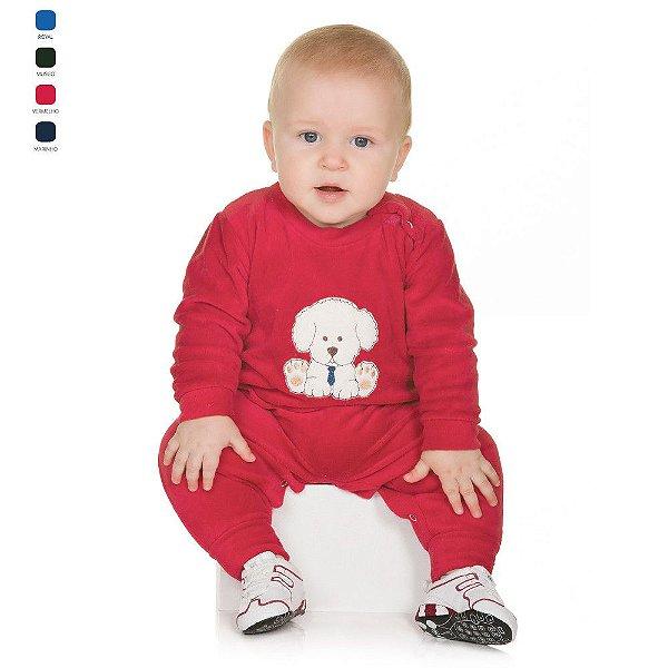 Macacão ou Macaquinho de Plush com Bordado e Botões no Ombro Bebê Menino