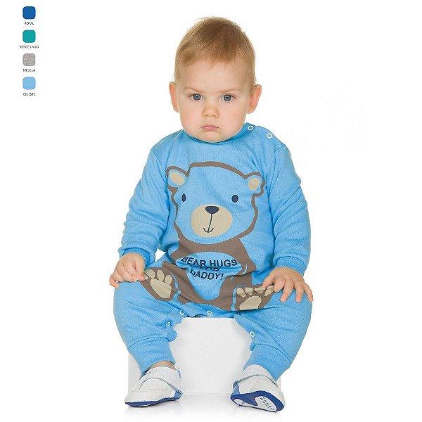 Macacão ou Macaquinho de Suedine com Estampa e Botões no Ombro Bebê Menino
