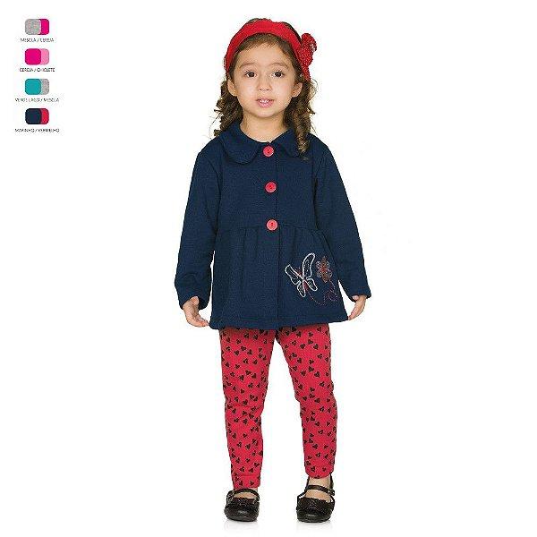 Conjunto Infantil Calça de Ribana Casaco de Moletom Bordado com Botões