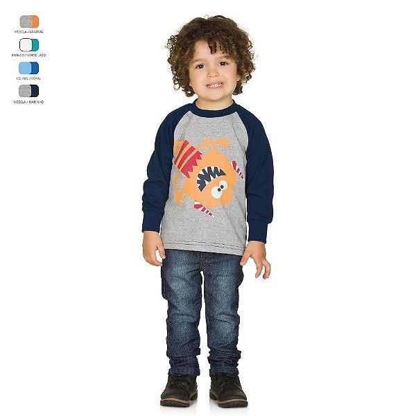 Camiseta Infantil Manga Longa Raglan Meia Malha Menino