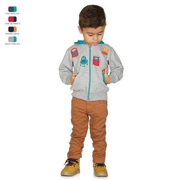 Jaqueta Infantil de Moletom com Estampa Bolso e Capuz Menino