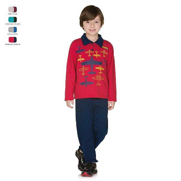 Conjunto Infantil de Moletom Inverno Gola Polo Menino