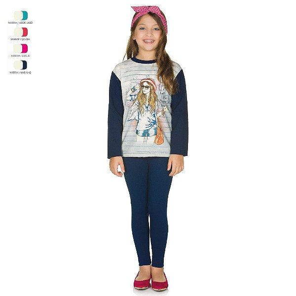 Conjunto Infantil de Inverno Calça de Cotton e Blusa de Moletom Menina