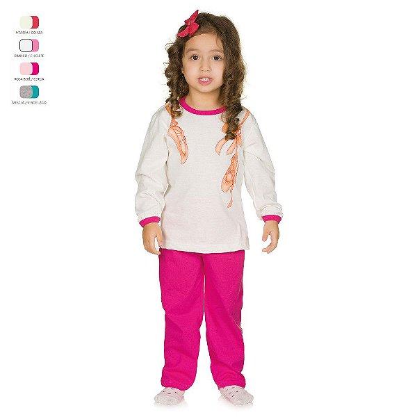 Pijama Infantil Longo de Inverno em Meia Malha Sapatilha Menina