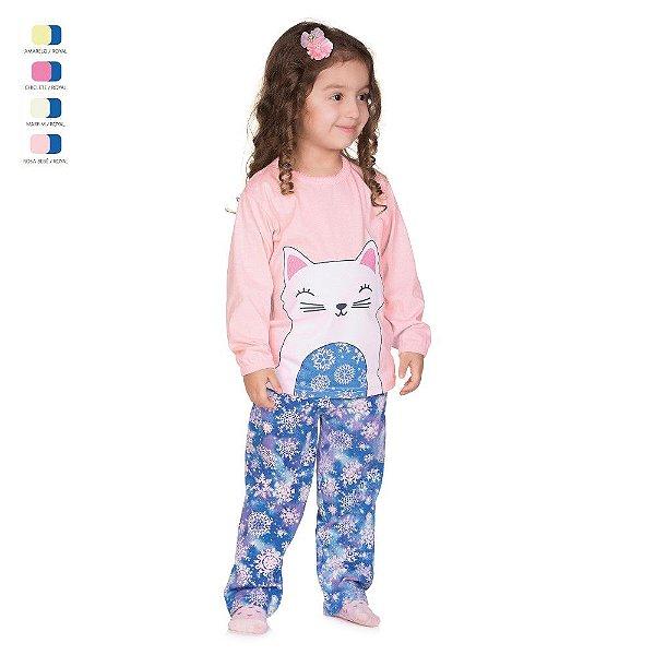 Pijama Infantil Longo de Inverno em Meia Malha Gatinha Menina