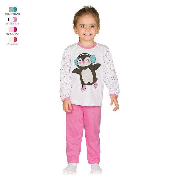 Pijama Infantil Longo de Inverno em Meia Malha Pinguim Menina