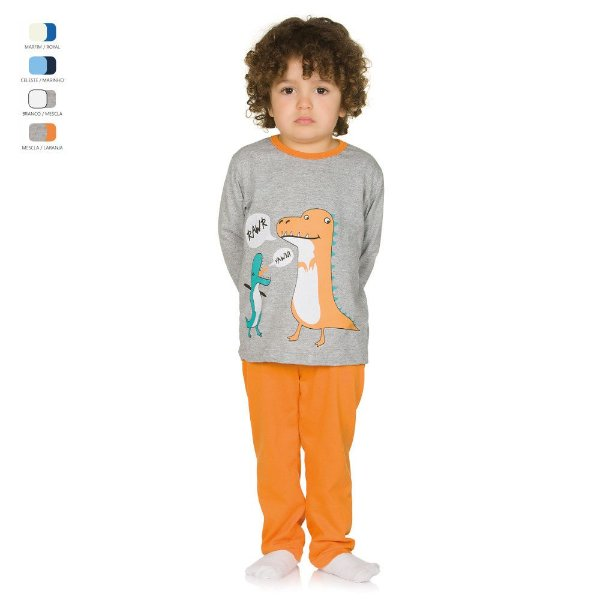 Pijama Infantil Longo de Inverno em Meia Malha Dinossauro Menino
