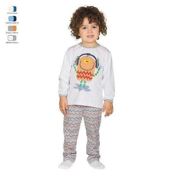 Pijama Infantil Longo de Inverno em Meia Malha Monstro Menino
