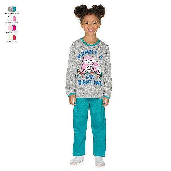 Pijama Infantil Longo de Inverno em Meia Malha Corujas Menina