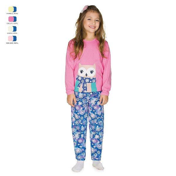 Pijama Infantil Longo de Inverno em Meia Malha Coruja Menina