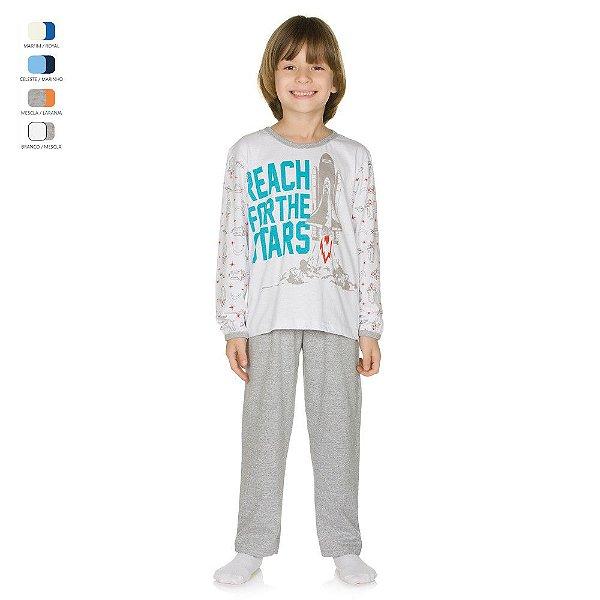 Pijama Infantil Longo de Inverno em Meia Malha Foguete Menino