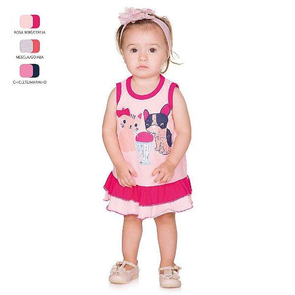 Vestido de Bebê Curto Verão com Calcinha