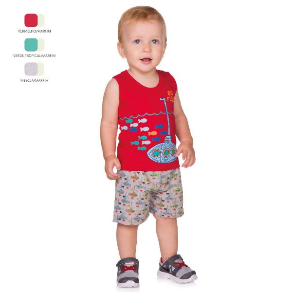 Conjunto de Bebê Menino Verão Regata com Short Tactel