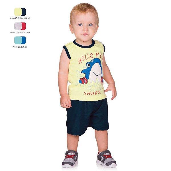Conjunto de Bebê Menino Verão Camiseta Machão e Short Tactel