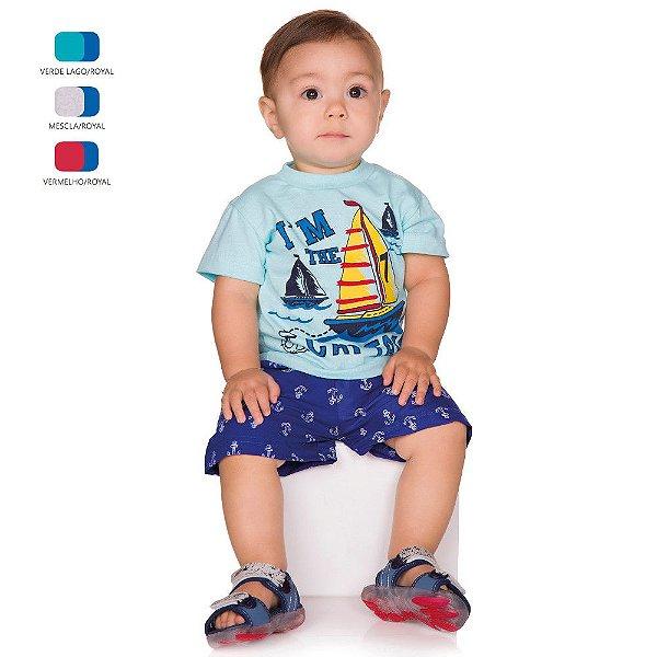 Conjunto de Bebê Menino Verão Camiseta Meia Manga com Short Tactel