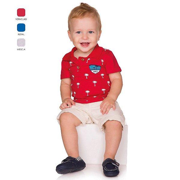 Camiseta de Bebê Menino Verão Meia Manga com Gola Polo