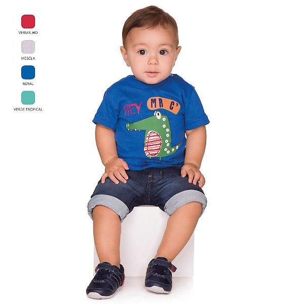 Camiseta de Bebê Menino Verão Meia Manga com Botão no Ombro