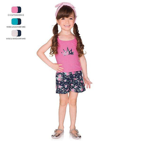 Conjunto Infantil Menina Camiseta de Alça e Short Verão