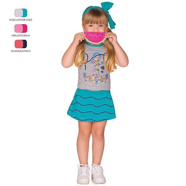 Conjunto Infantil Menina Camiseta e Short Saia Verão