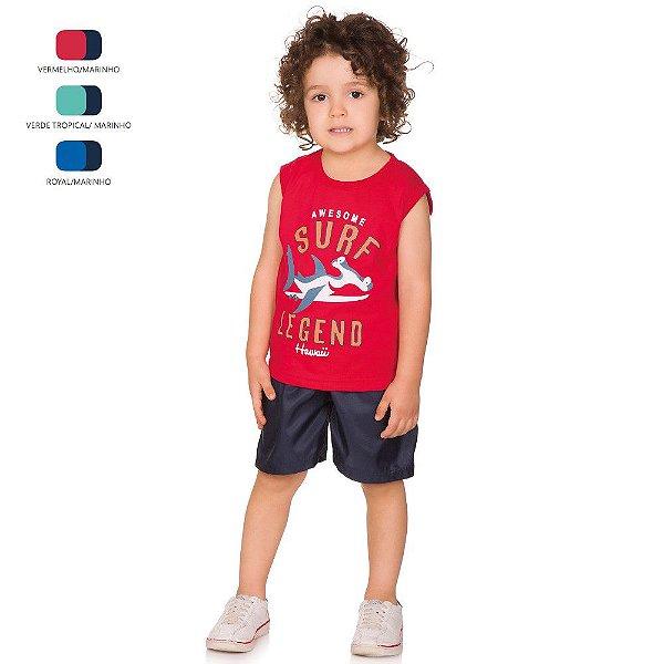 Conjunto Infantil Menino Camiseta Machão e Short Tactel Verão