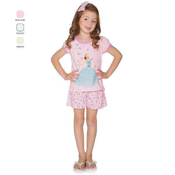 Pijama Menina Camiseta Meia Manga e Short Verão