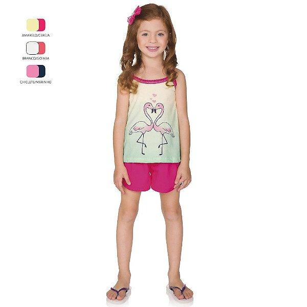 Pijama Menina Camiseta com Alça e Short Verão