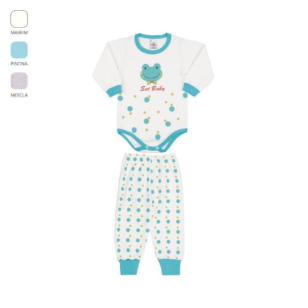 Conjunto Body e Calça de Bebê Menino Longo de Inverno Sapinho