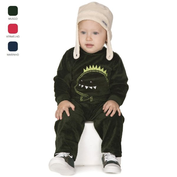 Conjunto de Bebê Menino Longo de Inverno Básico com Bordado