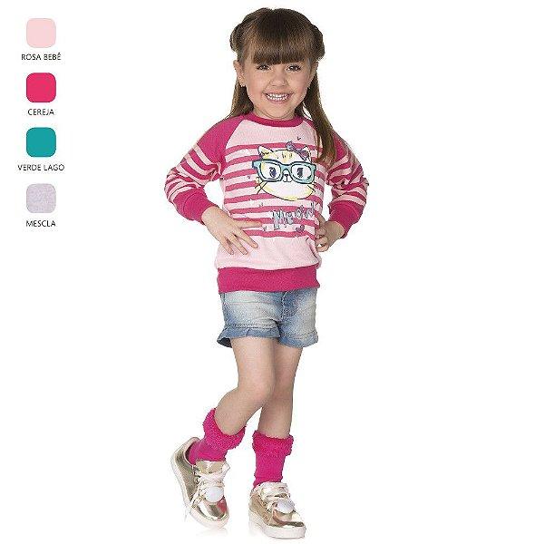 Blusão Infantil de Menina Manga Longa Raglan