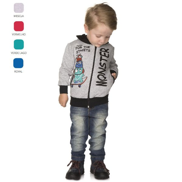 Jaqueta Infantil de Menino de Inverno com Bolso e Capuz