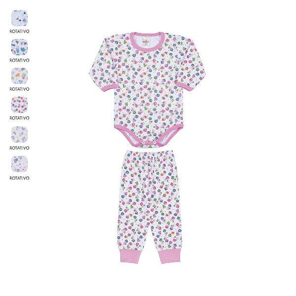 Conjunto Body e Calça de Bebê Unissex Longo de Inverno Estampado