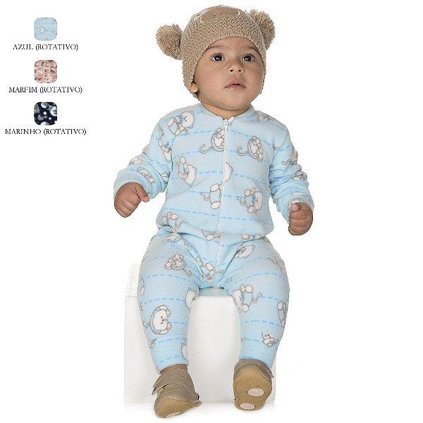Macacão de Bebê Menino Longo de Inverno de Microsoft com Zíper