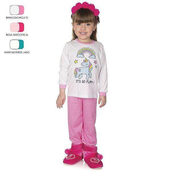 Pijama Infantil de Menina Longo de Inverno Unicórnio