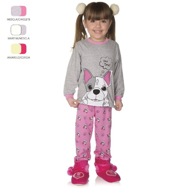 Pijama Infantil de Menina Longo de Inverno Pug