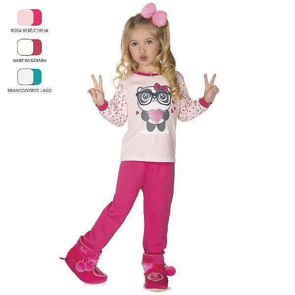 Pijama Infantil de Menina Longo de Inverno Ursinho